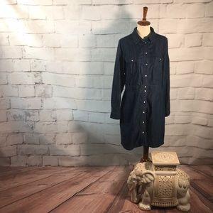 Boden Denim Day Snap Button Pocket Dress